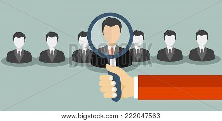 Find person for job opportunity. Flat vector illustration.