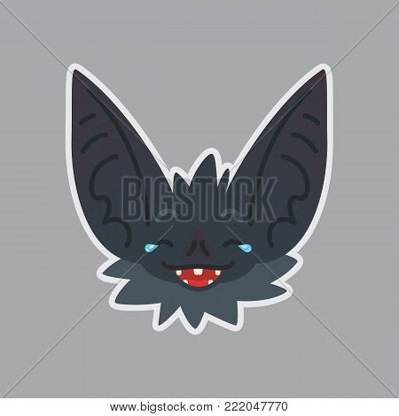 Bat sticker. Emoji. Vector illustration of cute Halloween bat vampire shows emotion. Joke. Isolated emoticon icon with sublayer. Bat-eared grey creatures snout. Print design. Badge. Laugh out loud.