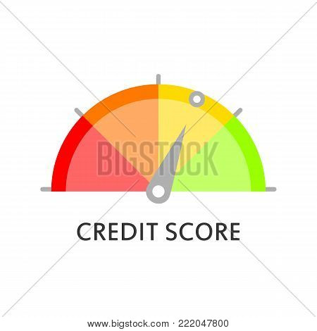Credit Score Gauge. Rating. Credit Score Meter. Vector Icon In Flat Style.