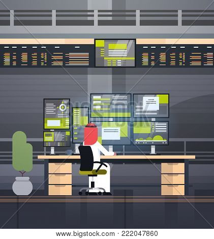 Global Online Trading Concept Arab Man Working With Stock Exchange Monitoring Sales Back Rear View Flat Vector Illustration