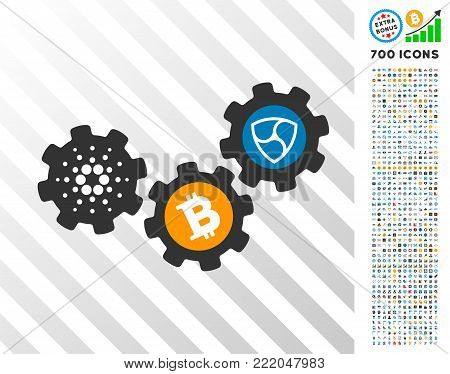 Nem Cryptocurrency Gears icon with 7 hundred bonus bitcoin mining and blockchain clip art. Vector illustration style is flat iconic symbols design for cryptocurrency apps.