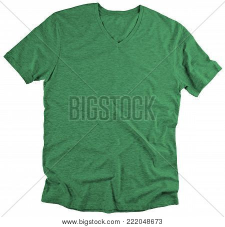 Front view of green t-shirt on white background