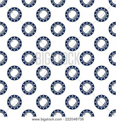 Blue Porthole, Seamless Maritime Pattern, Blue Ship Window on White Background ,  Illustration