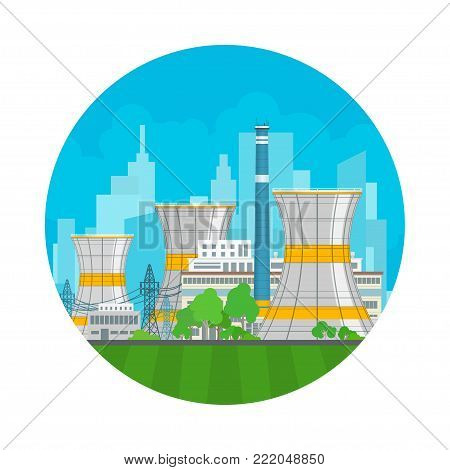 Nuclear Power Plant on the Background of the City , Thermal Station, Nuclear Reactor and Power Lines,  Illustration