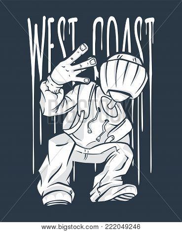 West Coast Guy Hip-Hop hand gesture. rap sign