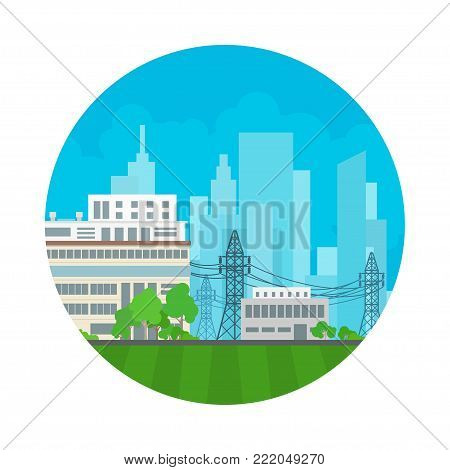 Icon Power Plant, High Voltage Lines Supplies Electricity to the City, Electric Power Transmission,  Illustration
