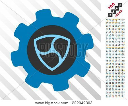 Nem Gearwheel pictograph with 700 bonus bitcoin mining and blockchain icons. Vector illustration style is flat iconic symbols design for bitcoin software.