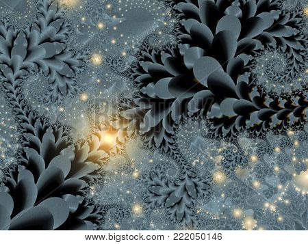 Abstract Gray Feathering Dendritic Background - Fractal Art