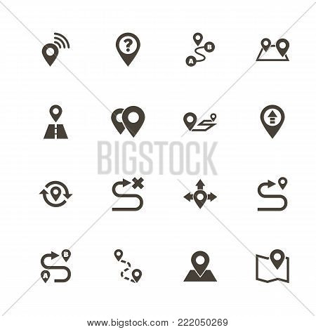 Route icons. Perfect black pictogram on white background. Flat simple vector icon.