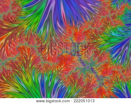 Abstract Rainbow Feathering Dendritic Background Like Frostwork    - Fractal Art