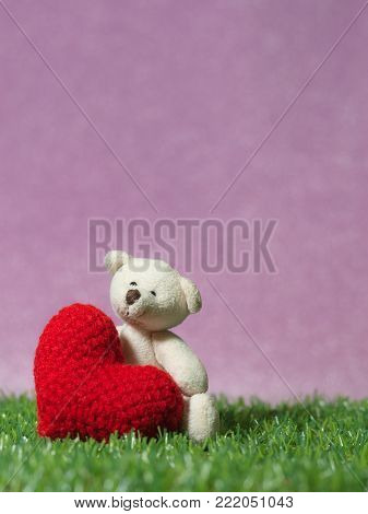 Teddy bear holding a handmade red heart on green grass background is royal pink.Copy space for text, Valentines day, love concept and love background