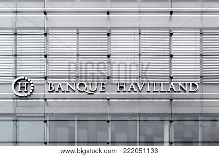 Kirchberg, Luxembourg - July 1, 2017: Banque Havilland building. Banque Havilland is a multinational family-owned private bank established in 2009 by the Rowland family and headquartered in Luxembourg
