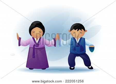 Asian Man And Woman Wearing Traditional Clothes Kimono Dancing Asia Ethnic Tradition And Culture Concept Flat Vector Illustration