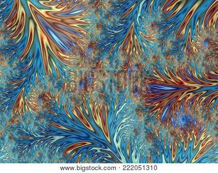 Abstract Blue and Yellow Feathering Dendritic Background Like Frostwork    - Fractal Art
