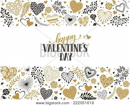 Happy Valentines Day greeting card with horisontal frame from hearts and floral elements in golden colors. Romantic hearts in horisontal composition with calligraphic phrase on white background.