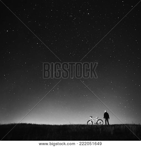 Black and white art monochrome photography. Black and white creative photography. Black and white conceptual image. Beautiful black and white background. Black and white portrait. Starry sky, night photography, astrophotography