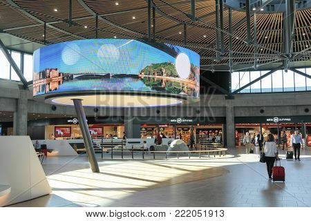 Lyon, France - September 12, 2017: The new international terminal at Saint Exupery airport in Lyon, France