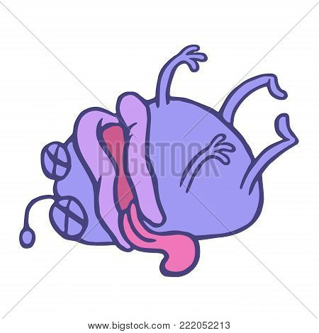 Cartoon purple monster lost consciousness. Loneliness and sadness. Cute cartoon dramatic character. Vector illustration.