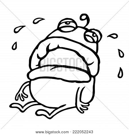 Sad alien sits alone and crying. Bad mood. Loneliness and sadness. Cute cartoon character. Vector illustration.