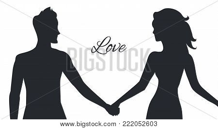Love of man and woman depicted in couple silhouettes holding hands and looking on each other. Young lovers postures isolated on white background