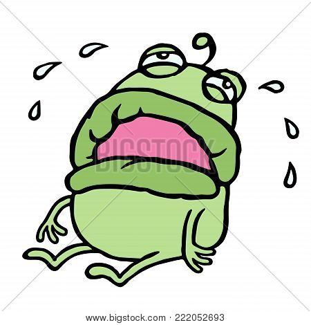 Green stranger in hysterics. Bad mood. Cute cartoon character. Loneliness and sadness. Vector illustration.