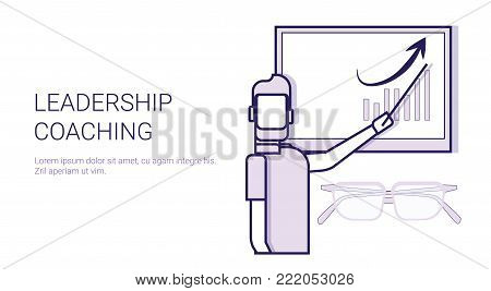 Leadership Coaching Mentor Trainings Concept Template Web Banner With Copy Space Vector Illustration