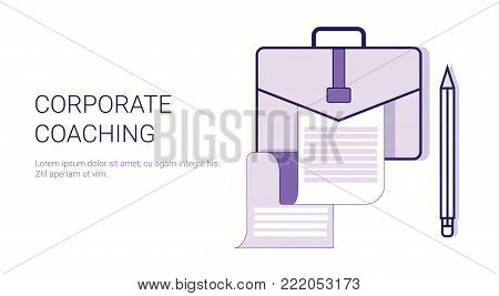 Corporate Coaching Mentoring Trainings Concept Template Web Banner With Copy Space Vector Illustration