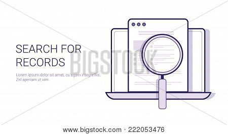 Search For Results Concept Data Analysis Template Web Banner With Copy Space Vector Illustration