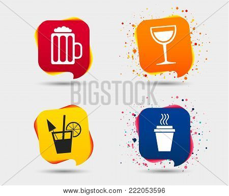 Drinks icons. Take away coffee cup and glass of beer symbols. Wine glass and cocktail signs. Speech bubbles or chat symbols. Colored elements. Vector