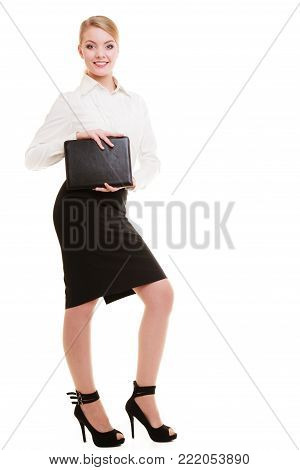 Full length of businesswoman showing document case. Elegant young woman blond girl with briefcase isolated on white. Business and advertisement. Studio shot.