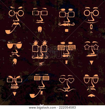Hipster in glasses character faces avatars isolated on dirty grunge background. Hipsters style monochrome set. Faces collection for Fathers day design. Vector illustration