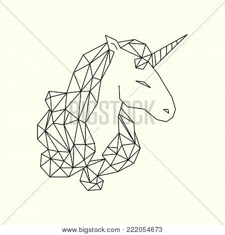 Polygonal unicorn head illustration. Unicorn head low poly vector design. Vector illustration.