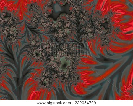 Abstract Gray and Red Dendritic Background Like Frostwork    - Fractal Art