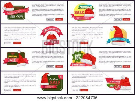 Big collection super choice Christmas sale web banners with push buttons read more and buy now, Santa Claus caps on advertisement emblems vector set