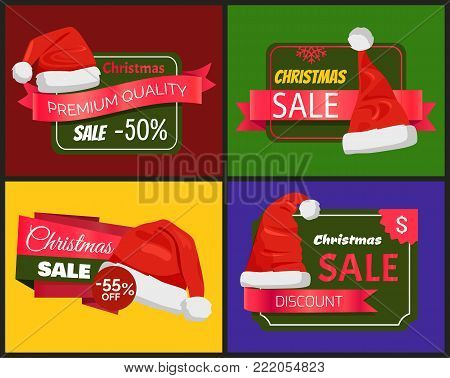 Set of winter badges premium quality Christmas sale promo labels with Santa Claus hats, ribbons with text, advertisement emblems with winter headwear