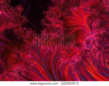 Abstract Purple Dendritic Background Like Frostwork    - Fractal Art