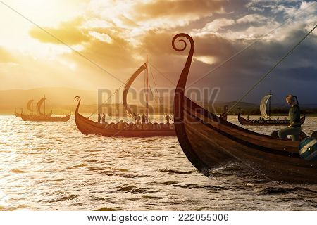 Viking ships on the water under the sunlight and dark storm. Invasion in the storm. 3D render illustration