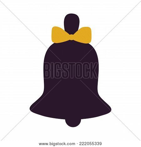 Bell decorated with bow icon isolated on white background. Vector illustration with silhouette of hand jingle with dark yellow ribbon in flat style