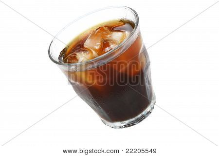 Glass Of Iced Coffee Or Cola On White With Copy Space