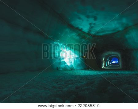 Tunnel inside ice cave in the Langjokull glacier in Iceland