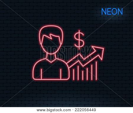 Neon light. Business results line icon. Dollar with Growth chart sign. Glowing graphic design. Brick wall. Vector