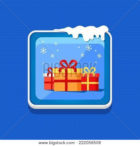 Festive button with presents, vector illustration with colorful gift boxes with cute ribbons and bows isolated on blue push-button with white frame