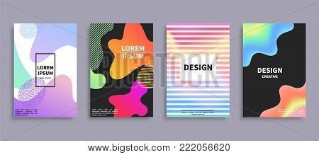 Design creative covers set, pages with frame, and headline inside, pattern consisting of colorful blots, lines and dots, vector illustration