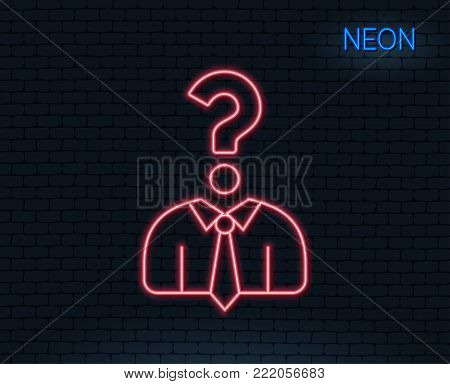 Neon light. Business head hunting line icon. Question sign. Human resources symbol. Glowing graphic design. Brick wall. Vector