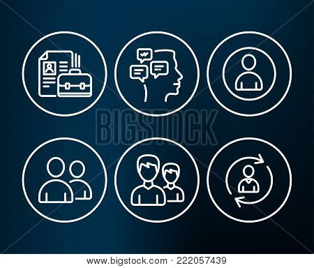Set of Avatar, Users and Vacancy icons. Messages, Couple and Person info signs. User profile, Couple of people, Hiring job. Notifications, Two male users, Refresh user data.  Editable stroke. Vector