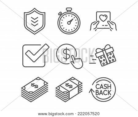 Set of Present delivery, Shield and Love mail icons. Buy currency, Usd currency and Checkbox signs. Timer, Dollar and Cashback symbols. Shopping service, Protection or security, Valentine letter