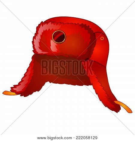 Winter fur red earflaps hat or ushanka. Russian national cap isolated on white background. Vector cartoon close-up illustration.