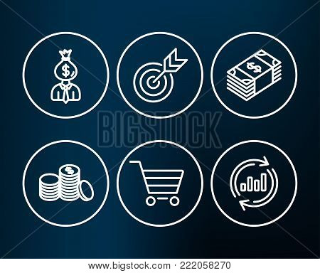 Set of Target, Manager and Usd currency icons. Market sale, Banking money and Update data signs. Targeting, Work profit, Buying commerce. Customer buying, Cash finance, Sales chart.  Editable stroke