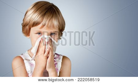 Girl young nose blow blowing white high