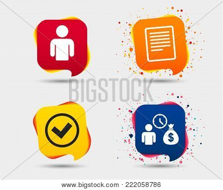 Bank loans icons. Cash money bag symbol. Apply for credit sign. Check or Tick mark. Speech bubbles or chat symbols. Colored elements. Vector